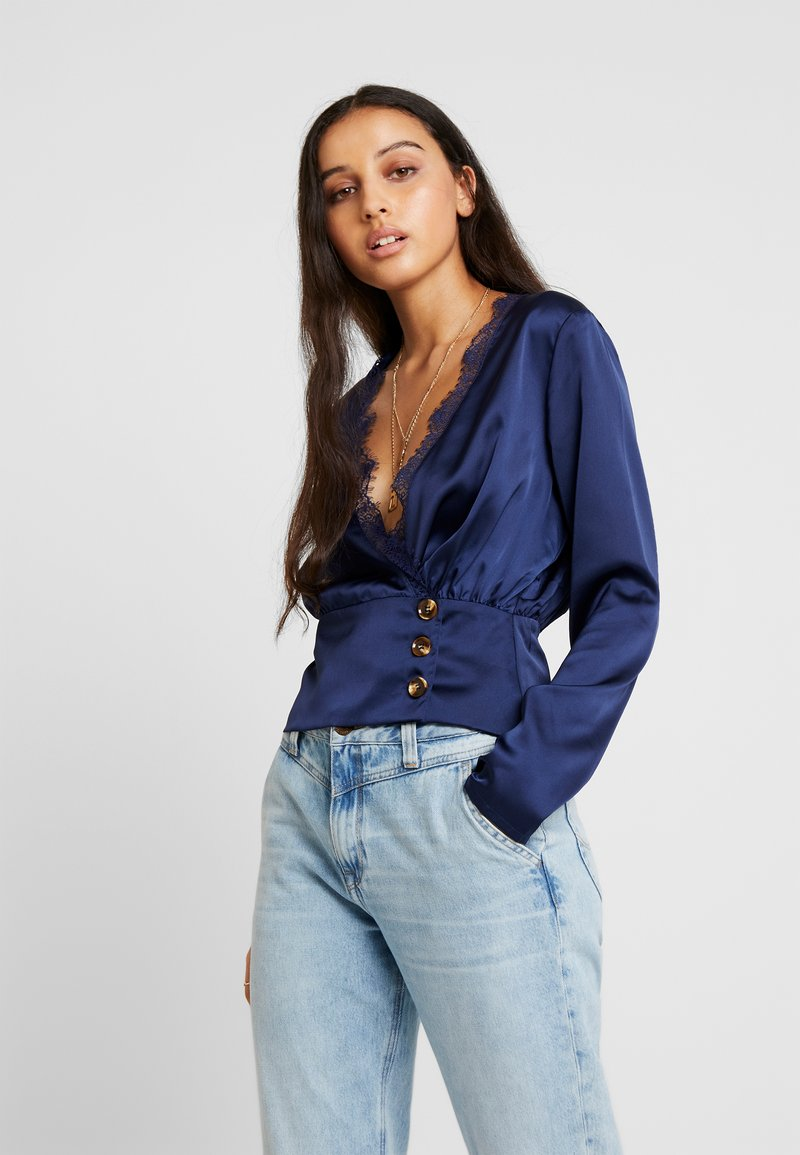 Missguided - WRAP BUTTON - Blouse - navy