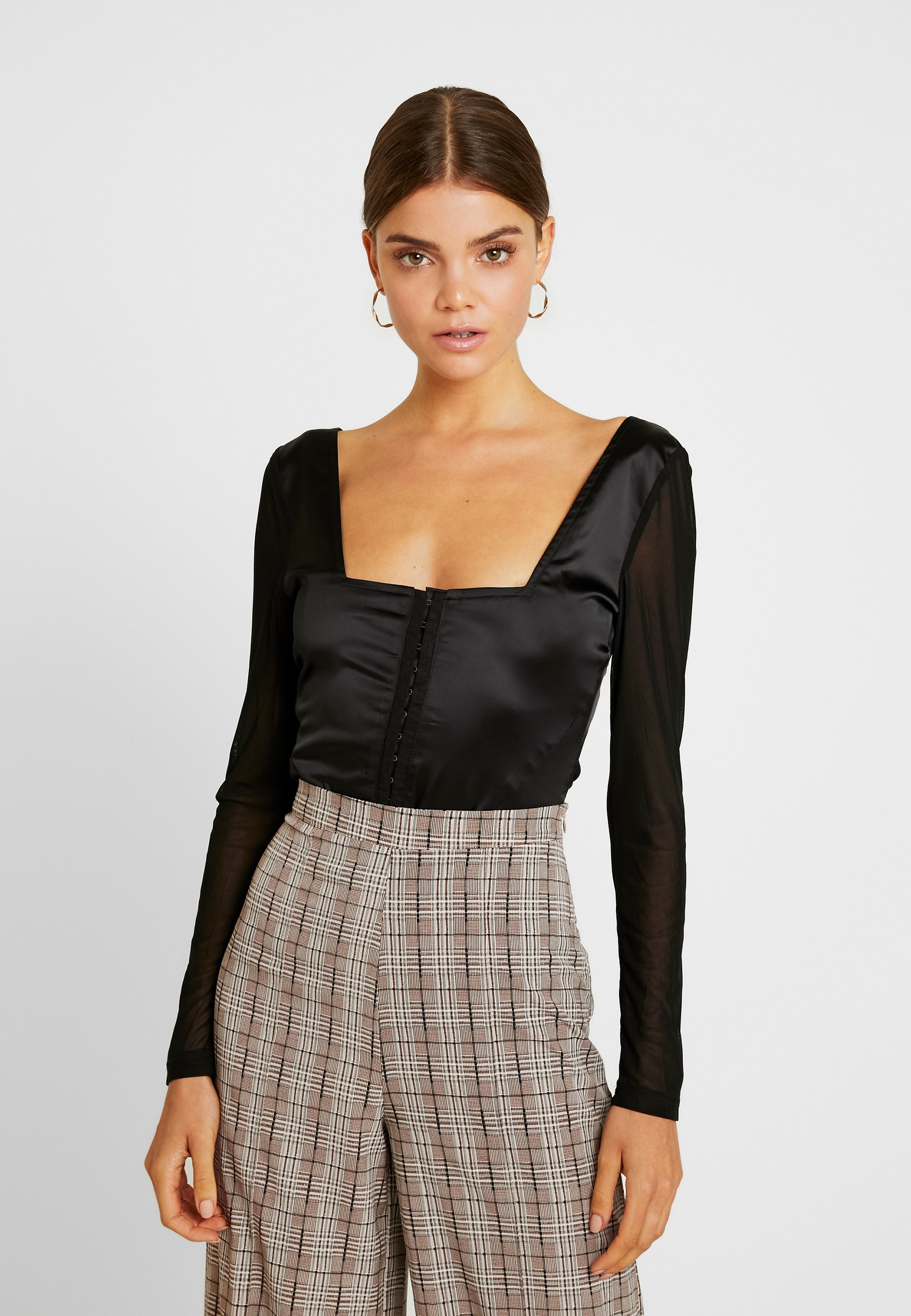 Black Sleeves Missguided Sleeves Missguided CorsetBlouse v0Py8OmwNn