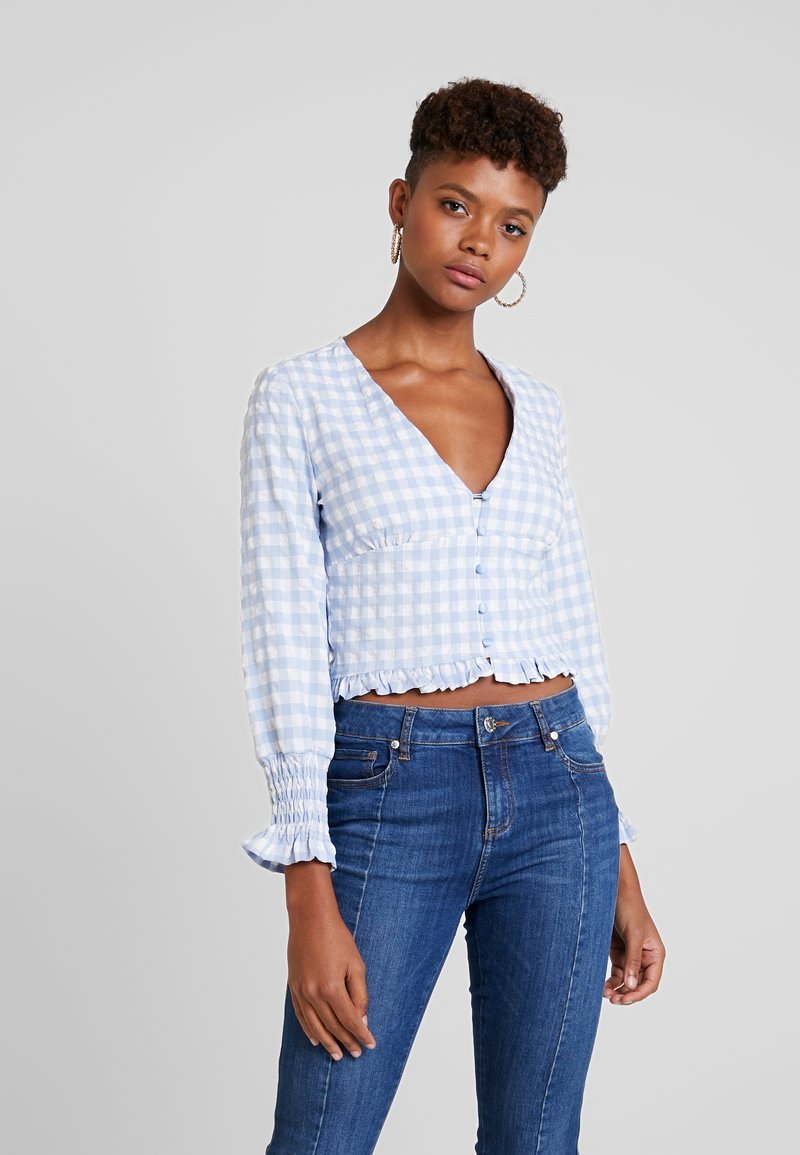 Missguided - TEXTURED JUMBO GINGHAM SHIRRED TOP - Blouse - baby blue