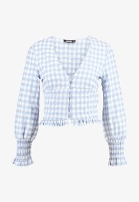 Missguided - TEXTURED JUMBO GINGHAM SHIRRED TOP - Bluser - baby blue - 3