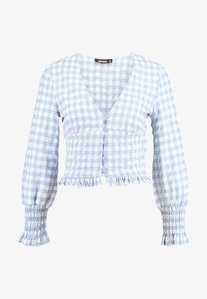 TEXTURED JUMBO GINGHAM SHIRRED TOP - Blouse - baby blue