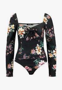 Missguided - FLORAL MILKMAID LONG SLEEVE BODYSUIT - Långärmad tröja - black - 3