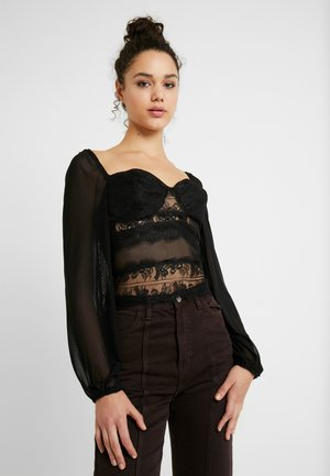 PUFF SLEEVE MILKMAID CROP - Blůza - black