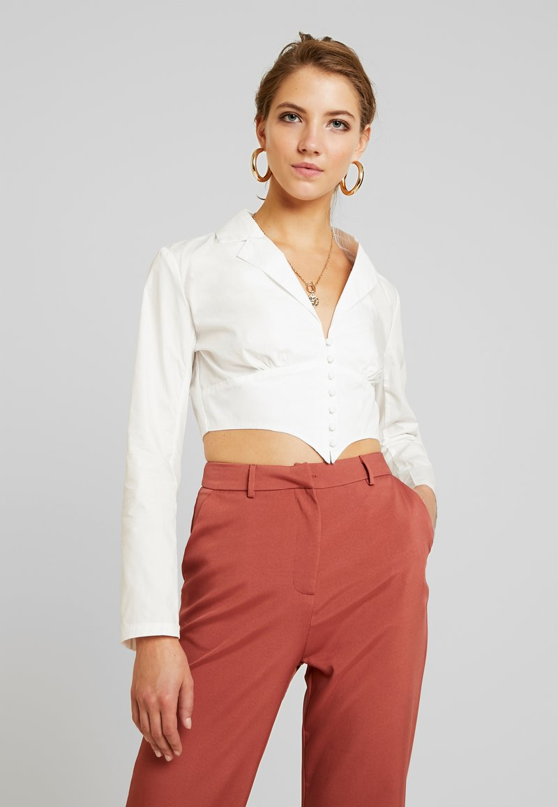 Missguided - PLUNGE CORSET STYLE SHIRT - Blouse - white
