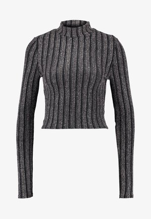 LIGHT MAGIC SPARKLE STRIPED TURTLE NECK CROP - Topper langermet - black