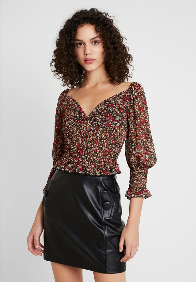 FLORAL MILKMAID SHIRRED - Blouse - black