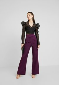 Missguided - PUFF SLEEVE TIE FRONT - Blouse - black - 1