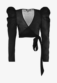 Missguided - PUFF SLEEVE TIE FRONT - Blouse - black - 3