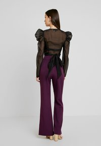 Missguided - PUFF SLEEVE TIE FRONT - Blouse - black - 2