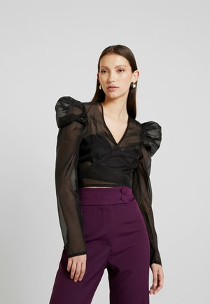 PUFF SLEEVE TIE FRONT - Blouse - black