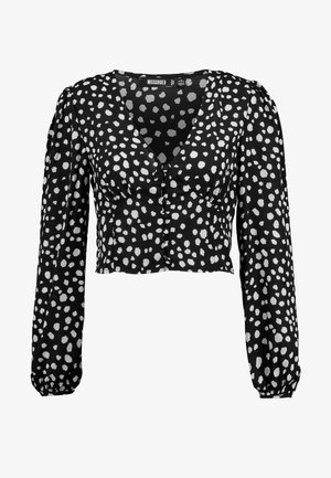 SPOT CUP DETAIL BUTTON FRONT BALLOON SLEEVE - Blouse - black