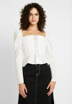 SQUARE NECK UP PEPLUM - Blouse - white