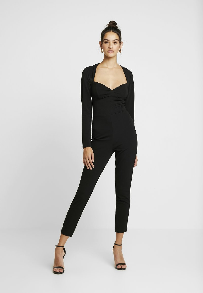 Missguided - LONGSLEEVE SWEETHEART UNITARD - Overal - black