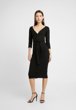 TIE BELT BUTTON THROUGH 3/4 SLEEVE BODYCON MIDI DRESS - Shift dress - black