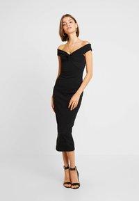 Missguided - BARDOT TWIST DETAIL MIDI DRESS - Vestito elegante - black - 0