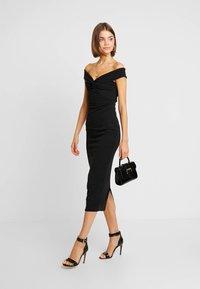 Missguided - BARDOT TWIST DETAIL MIDI DRESS - Cocktail dress / Party dress - black - 2