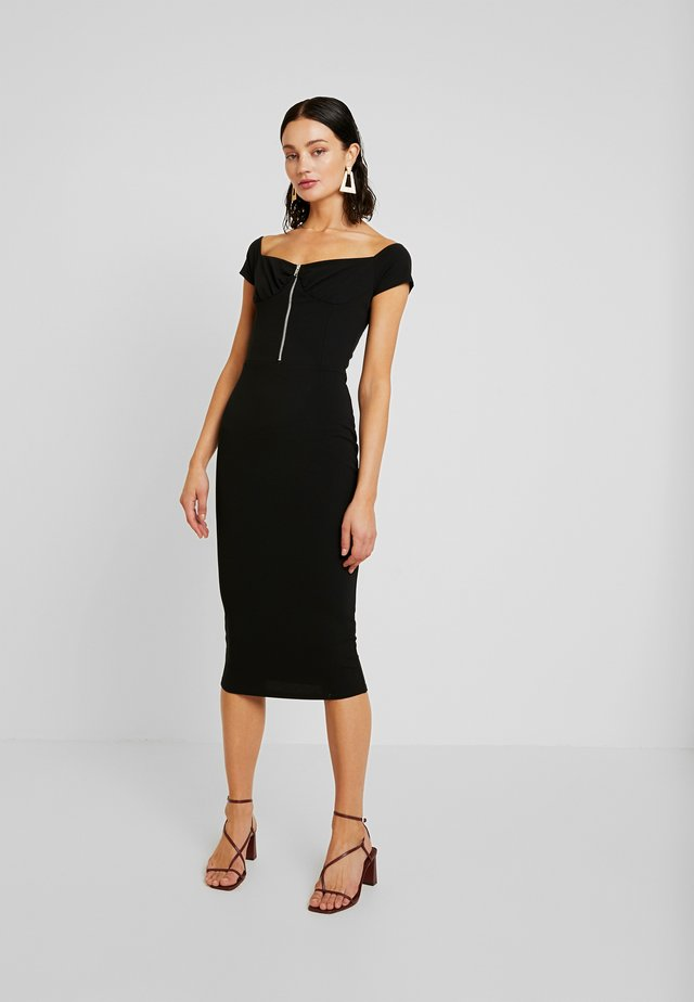 BARDOT EXPOSED ZIP MIDI DRESS - Tubino - black