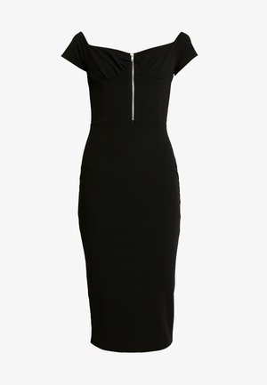 BARDOT EXPOSED ZIP MIDI DRESS - Etui-jurk - black