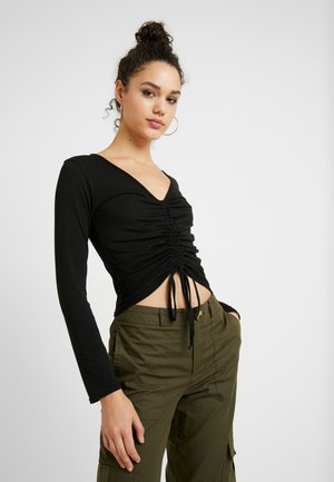 LONG SLEEVE RUCHED FRONT - Maglietta a manica lunga - black