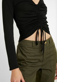 Missguided - LONG SLEEVE RUCHED FRONT - Topper langermet - black - 5