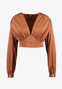 Missguided - COVERED BUTTON CORSET BLOUSE - Blus - rust - 4