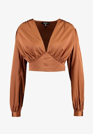 COVERED BUTTON CORSET BLOUSE - Blus - rust