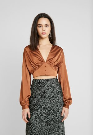 COVERED BUTTON CORSET BLOUSE - Pusero - rust