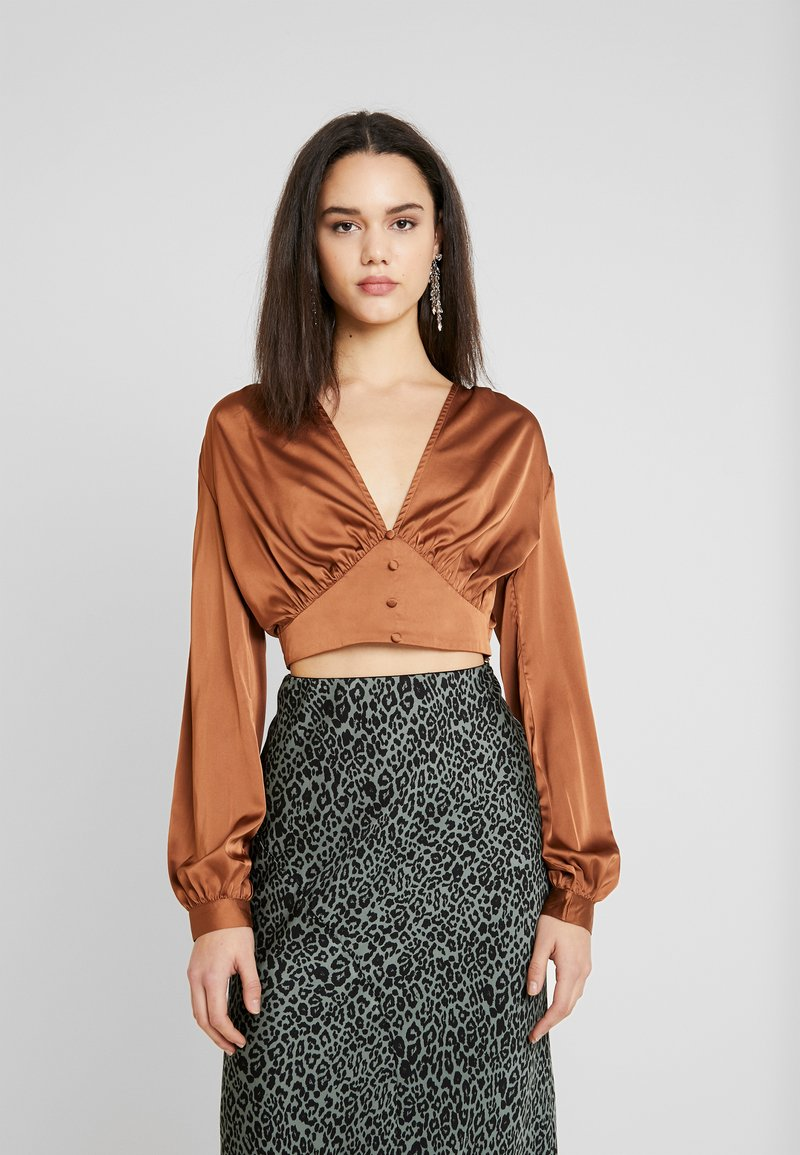 Missguided - COVERED BUTTON CORSET BLOUSE - Blus - rust