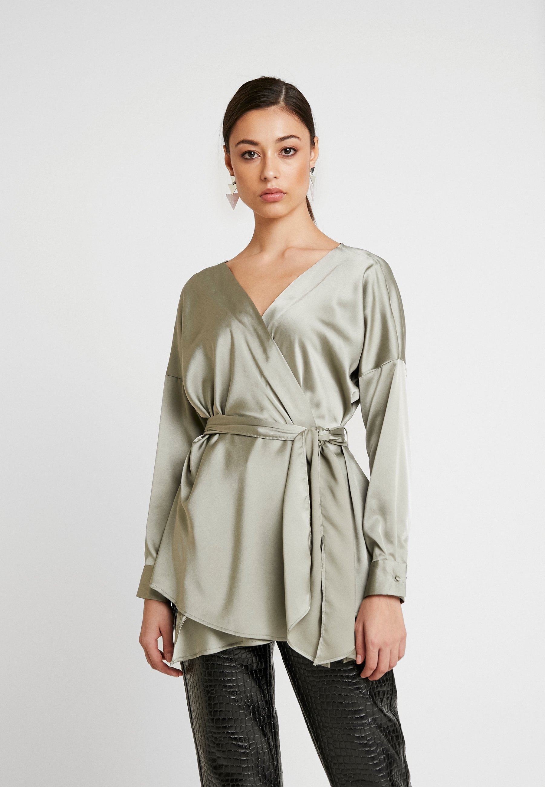 Missguided Waist Tie BlouseCamicetta Green Plunge Oversized shdrQt