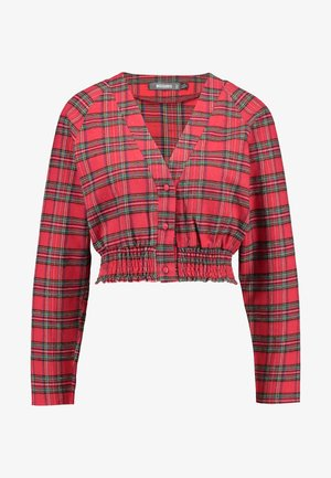 SHEERED WAIST LONG SLEEVED CHECK - Blusa - red