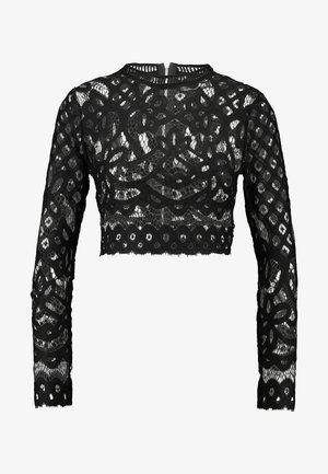 HIGH NECK PATTERNED CROP - T-shirt à manches longues - black