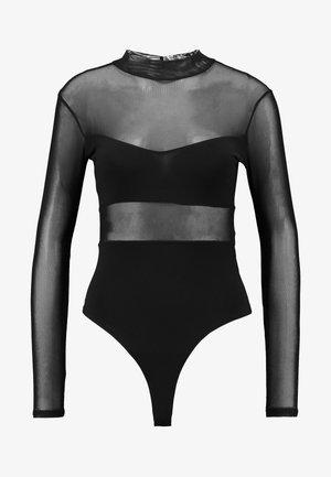 INSERT HIGH NECK LONG SLEEVE BODYSUIT - Pusero - black