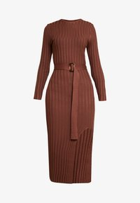 Missguided - BELTED MIDAXI FRONT SPLIT DRESS - Jumper dress - chocolate - 5