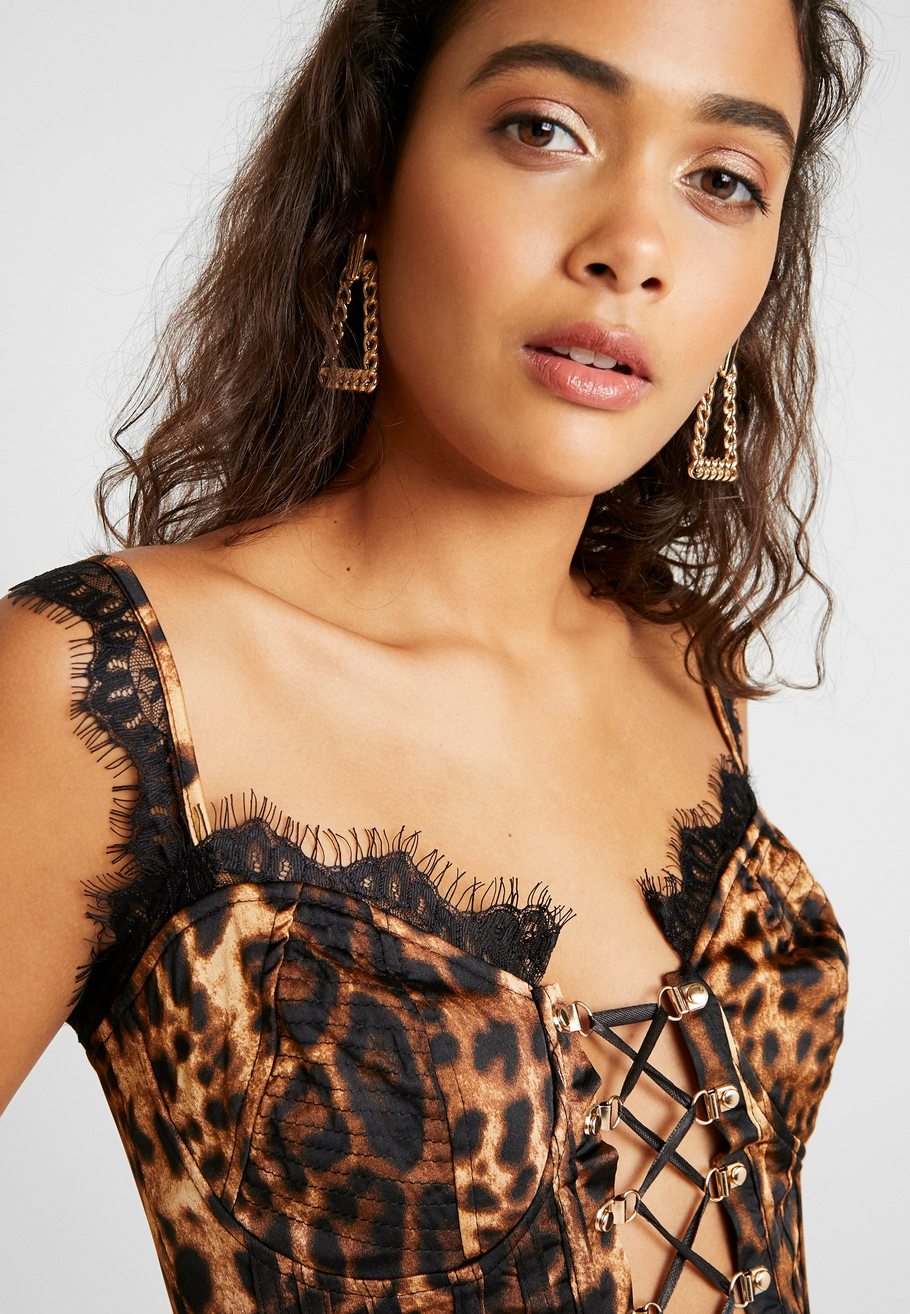 Missguided Leopard Cupped Up Crop - Blus Brown