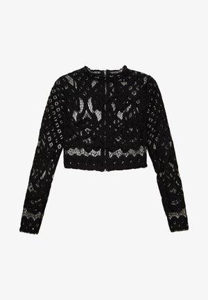 HIGH NECK PATTERNED CROP - Blusa - black