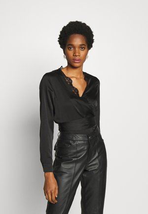 TRIM TIE FRONT BLOUSE - Pusero - black