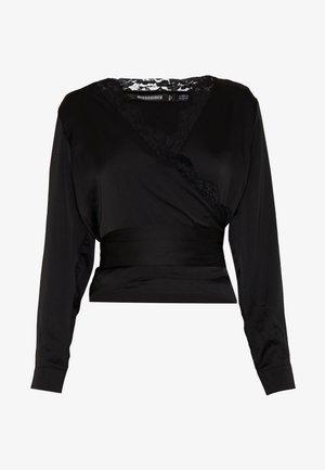 TRIM TIE FRONT BLOUSE - Bluse - black