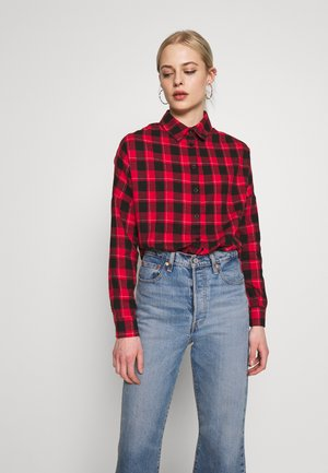 OVERSIZED BRUSHED CHECK - Camisa - red black