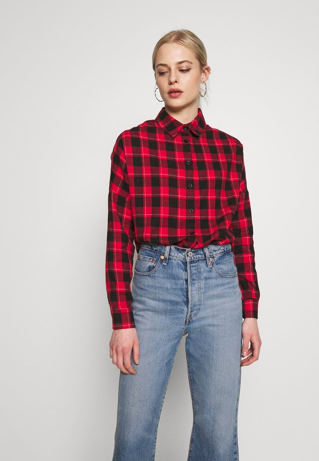 OVERSIZED BRUSHED CHECK - Camicia - red black