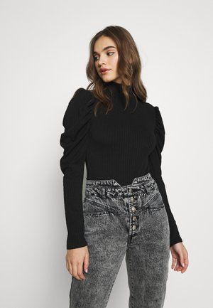 RIBBED PUFF SLEEVE HIGH NECK  - Blouse - black
