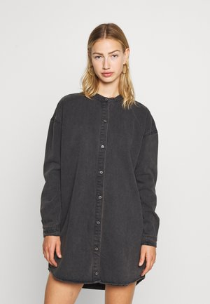 ROUND COLLAR DRESS - Denim dress - black