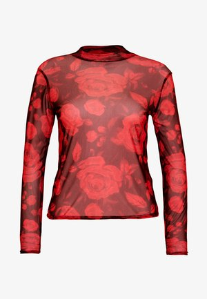 ROSE PRINT HIGH NECK LONG SLEEVE - Maglietta a manica lunga - black