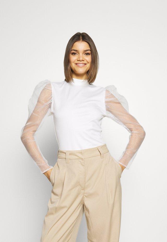 ORGANZA PUFF LONG SLEEVE HIGH NECK - T-shirt à manches longues - cream