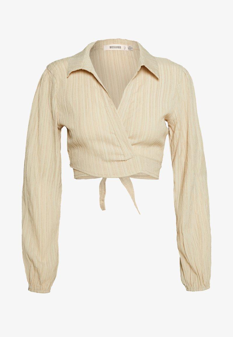 Missguided - TEXTURED TIE FRONT CROP - Skjorte - cream