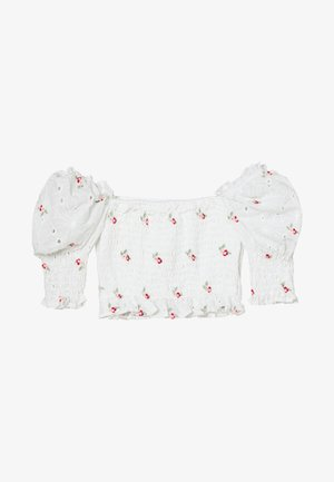 BRODERIE FLORAL SHIRRED CROP TOP - Bluser - white