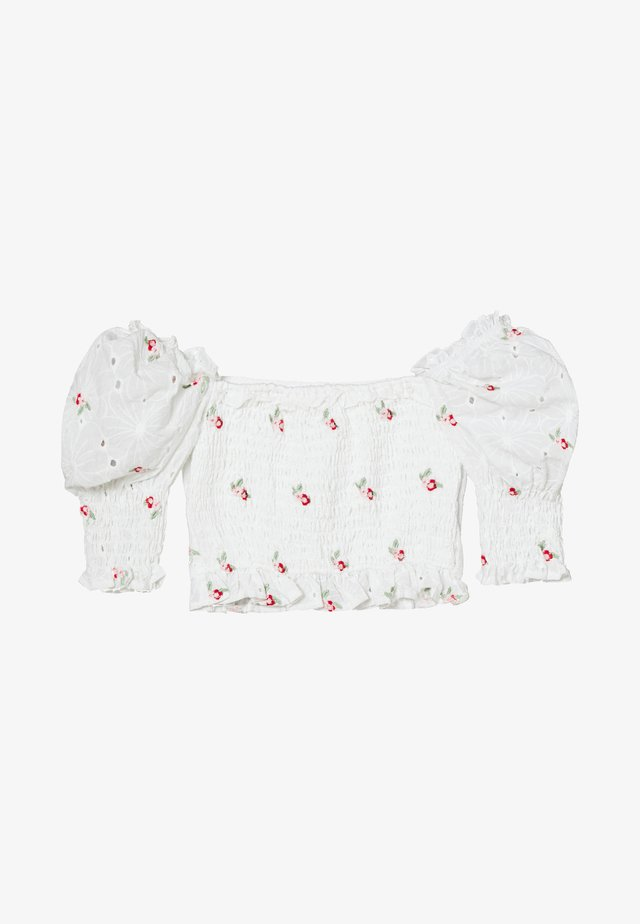 BRODERIE FLORAL SHIRRED CROP TOP - Blouse - white