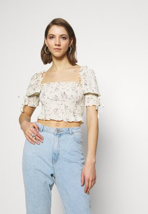 DITSY FLORAL SHIRRED PUFF SLEEVE CROP TOP - Blouse - cream