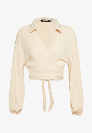TEXTURED TIE FRONT CROP TOP - Blouse - pink