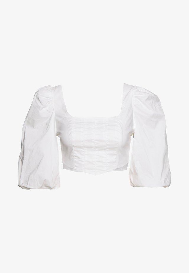 PUFF SLEEVE CORSET - Bluzka - white