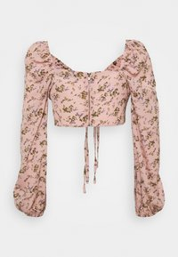 Missguided - COORD CROP TIE FRONT FLORAL - Bluser - pink - 1